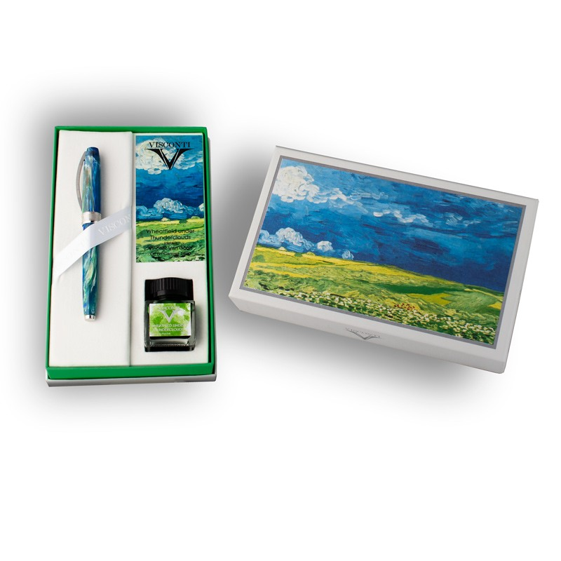 Penna stilografica Visconti Van Gogh Wheatfield under Thunderclouds Lema San Miniato confezione con inchiostro