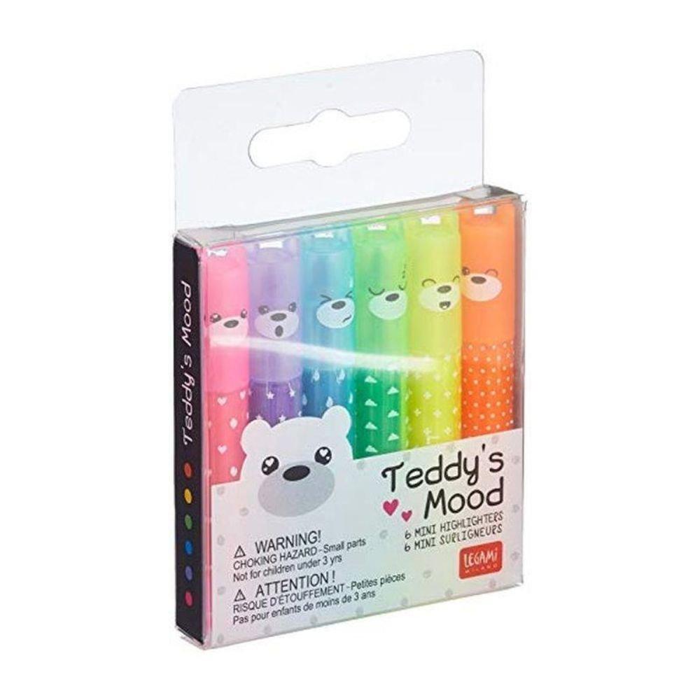 Legami Teddy's Mood - Set di 6 Mini Evidenziatori | Lema Scuola Regali