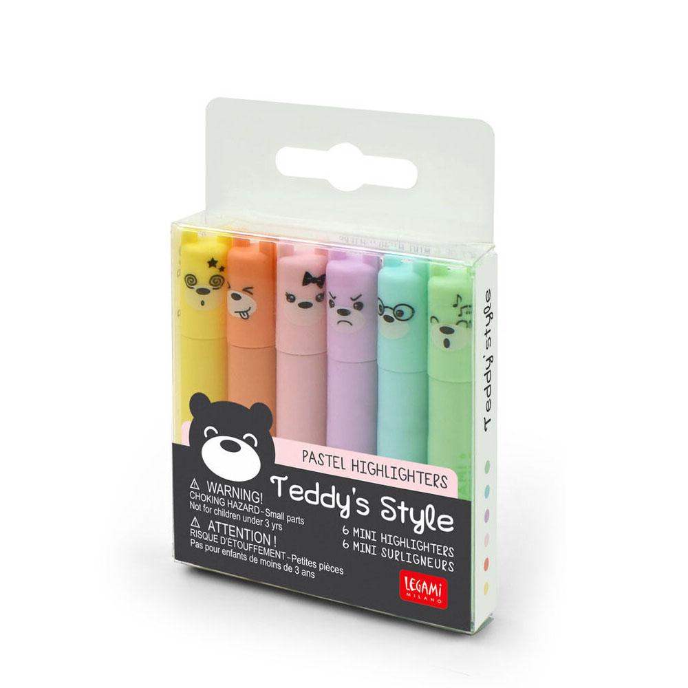 Legami Teddy's Mood Set di 6 Mini Evidenziatori Pastello   Lema Gadget Regalo