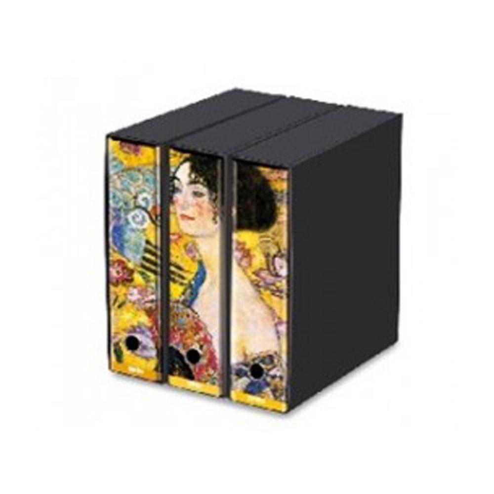 Set 3 Raccoglitori Kaos D8 Signora con Ventaglio Klimt | Lema Scuola Ufficio