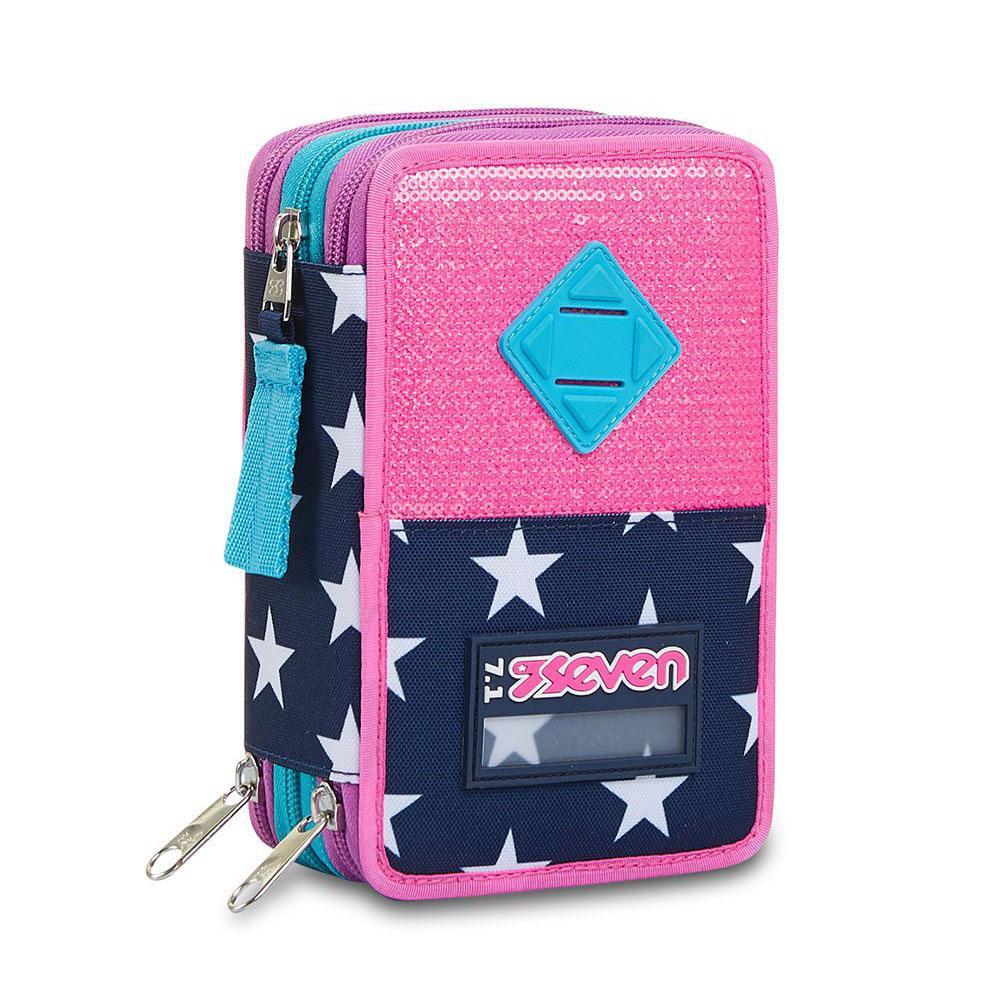 Astuccio Seven 3 Zip Pinking Blue 301012115 | Lema Scuola Ufficio